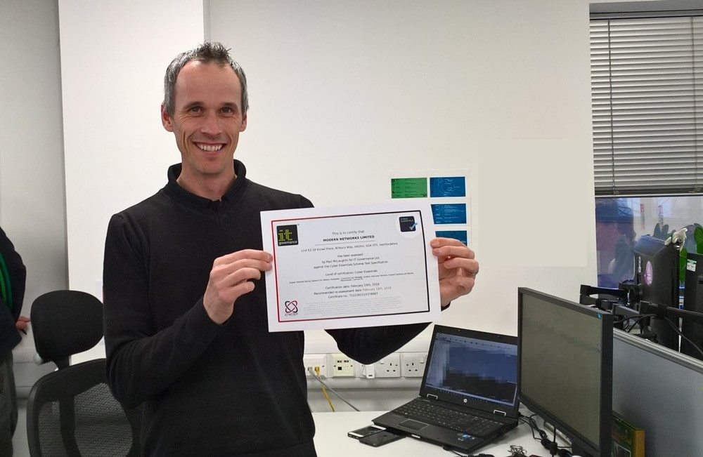 Lee and our Cyber Essentials certificate