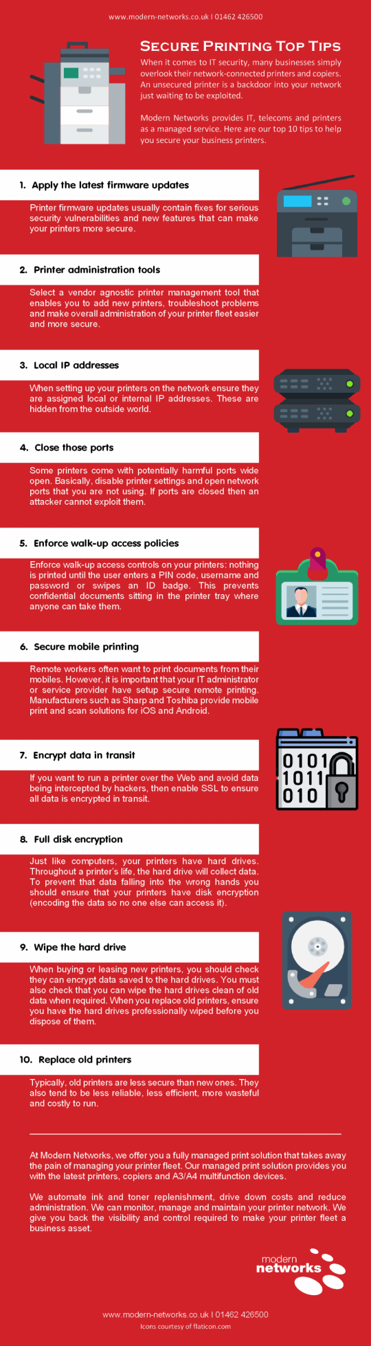 Secure printing top tips infographic